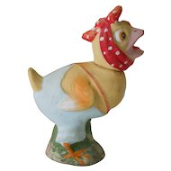 "Antique German Candy Container Of Chick With Red Polka Dotted Bandanna, 6"" Tall, Ca. 1890"
