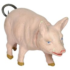 """German Pig Candy Container, 6"""" long, Ca. 1910"""