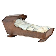 "Wooden Doll Cradle w/ Bedding, 10 1/4"" long"