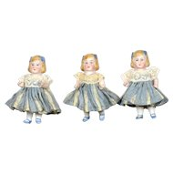 "3 All Bisque German Dolls, 3"" tall"