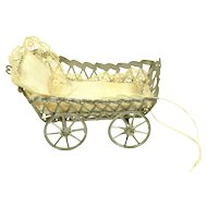 "Soft Metal Cart for Doll House Dolls, 3 1/8"" long"