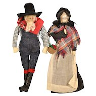 Walnut Faced Old Couple Folk Dolls