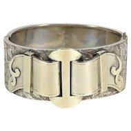 Victorian Sterling Silver Buckle Bracelet, Ca. 1880