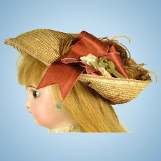 Beautiful French Straw Hat for Bisque Head Doll