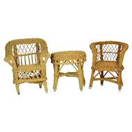 "2 Wicker Chairs, 1 Wicker Table for 10"" Dolls"