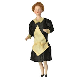 "German Bisque Doll House Maid, 5 3/4"" tall"