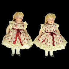 "Two All Bisque Twins, 4"" tall"