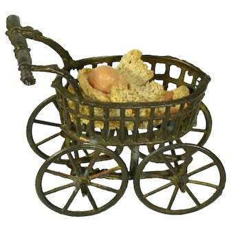 French Big Wheel Baby Carriage