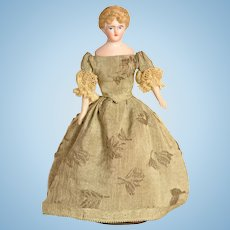 """Bisque Head Lady Doll House Doll, 6 1/4"""" tall, A/O"""