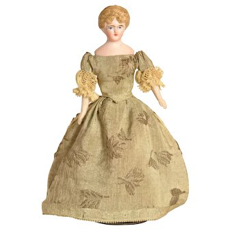 "Bisque Head Lady Doll House Doll, 6 1/4"" tall, A/O"