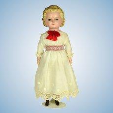 "Wax Over Composition Molded Hair Doll, 12"" tall"