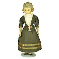 """Molded Bonnet Wax Over Composition Doll, 10"""" tall"""
