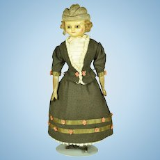 "Molded Bonnet Wax Over Composition Doll, 10"" tall"