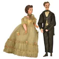 "French Wax Man & Woman Doll House Dolls, 7"" tall"