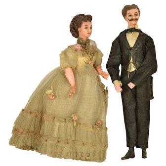 "French Wax Man & Woman Doll House Dolls, 7"" tall"
