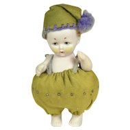 "All Bisque Pin Cushion Doll, 3 1/4"" tall, A/O"