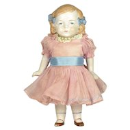 "Pink Tint All Bisque Doll, 7 1/4"" tall"