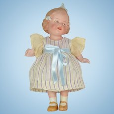 """All Bisque Girl with 3 Bows By Gebruder Heubach, 6"""" Tall"""