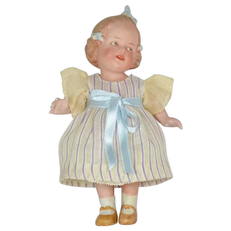 "All Bisque Girl with 3 Bows By Gebruder Heubach, 6"" Tall"