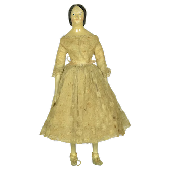"""Milliners' Model: Queen Victoria Style Hairdo, 1840, 11 1/2"""" tall"""