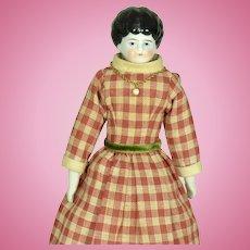 """Black Hair China Head, 1890, 9"""" tall"""