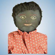 "Handmade Cloth Black Doll, ca. 1900-1920, 19"" tall"