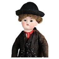 "German Bisque Head Boy Doll, 12"" tall, A/O"