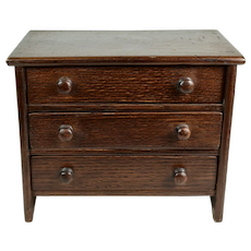 Oak Chest of Drawers for Medium Sized Dolls, ca. 1880