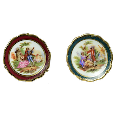 2 Limoges Plates on Stands for Your Dollhouse