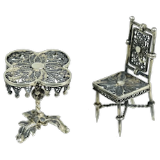 Tiny Ornate Silver Gilt Table and Chair For Doll House