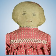 "American Printed Cloth Doll, ca. 1900, 18"" tall"