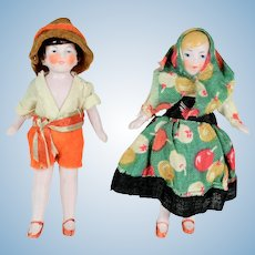 "2 Pink Tinted All Bisque Tiny Dolls, A/O, 3 1/4"" tall"