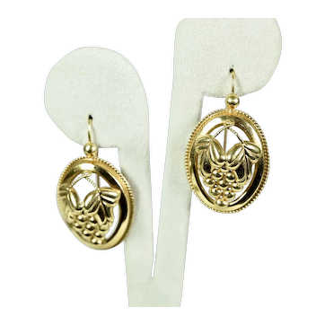 French 18KT gold Grape Earrings, 1870