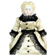 "German Bisque Head Doll w/ Molded Blonde Hair, 9 1/2"" tall"