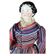 "Lady Doll China Head, 1860 - 1870, 18"" tall"