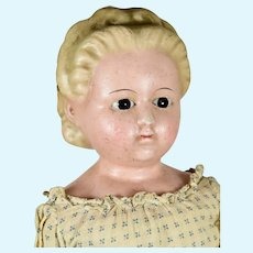 """Wax-Over-Composition Shoulder Head Doll, 23"""" tall"""