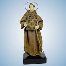 "Wax Italian Creche Figure of St. Francis, 8"" tall, 1800's, A/O"