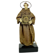 "Wax Italian Creche Figure of St. Francis, 8"" tall, 1800's, A/O"