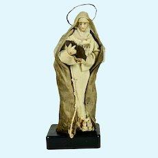 "Wax Italian Creche Figure of Female Saint, 8"" tall, 1800's"