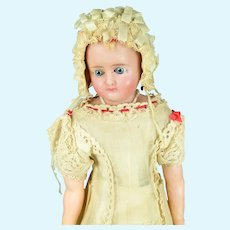 "German Reinforced Poured Wax Doll, 17"" tall, A/O"