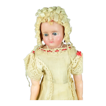 """German Reinforced Poured Wax Doll, 17"""" tall, A/O"""