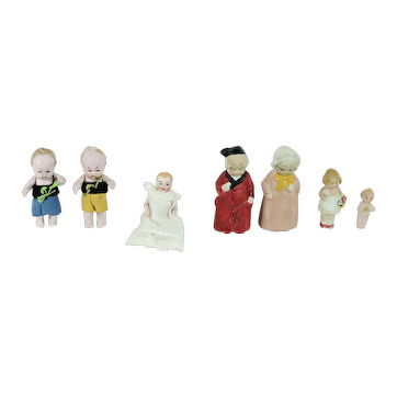 7 All Bisque German Doll House Dolls, Various Sizes