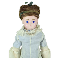 "Wax Over Doll With Wig, 14 3/4"" tall"