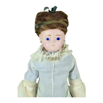 """Wax Over Doll With Wig, 14 3/4"""" tall"""