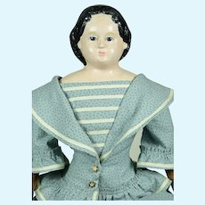 """Greiner Papier Mache Head Doll, 24"""" tall, Lovely Clothing"""