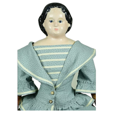 "Greiner Papier Mache Head Doll, 24"" tall, Lovely Clothing"