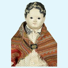 "Pre-Greiner Papier Mache Doll, Glass Eyes, 24"" tall, A/O, 1850"