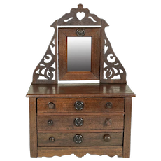 "Wooden Dresser w/ Mirror For 12"" or Under Dolls"