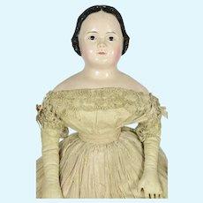 "Pre Greiner Papier Mache w/ Glass Eyes, 1850, A/O, 26"" tall"