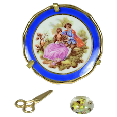 Limoges Plate, Scissors, and Glass Paperweight for French Fashion